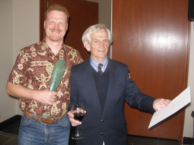 Life time Achievement award winner Brian Molloy alongside Peter de Lange, 2006 recipient of the Allan Mere Award
