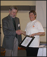 Sara Brill receiving the Council award on behalf of Environment Bay of Plenty Dune Care Programme.